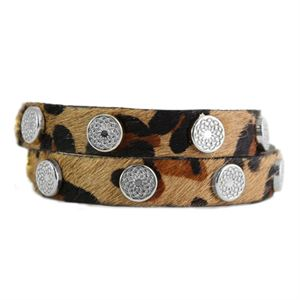 Picture of Leopard Leather Wrap with Silver Studs